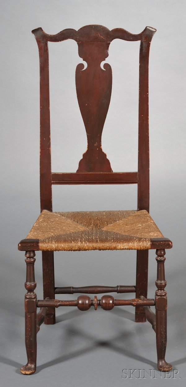 15: Red-painted Vase-back Side Chair, New England, 18th