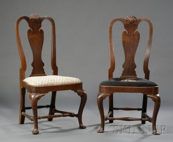 16: Pair of Queen Anne Carved Walnut Side Chairs, Bosto