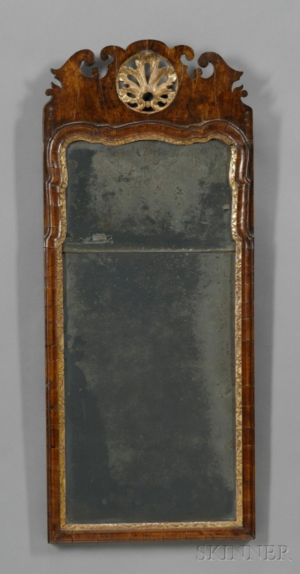 17: Queen Anne Carved Walnut and Gilt-gesso Mirror, Eng