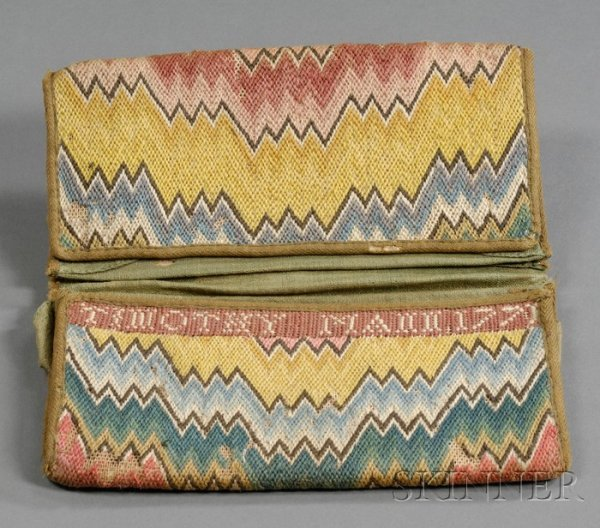 "18: Wool Needlework Wallet, ""TIMOTHY MANN 1771,"" double"