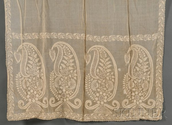 19: Two Embroidered Muslin Scarves, a Baleen Bobbin Shu