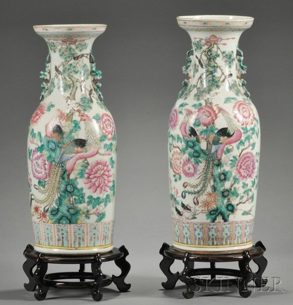 317: Pair of Large Chinese Export Porcelain Vases, earl