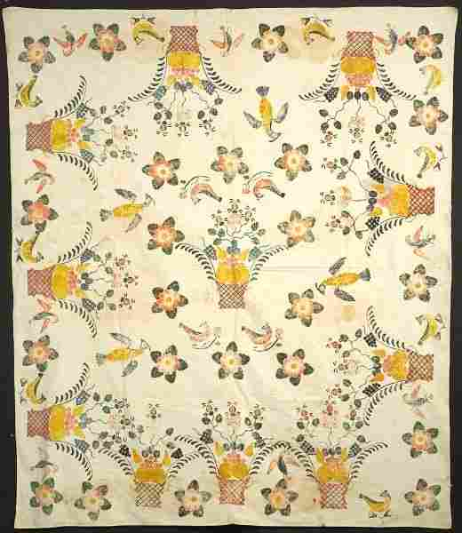 460: Stenciled Woven Cotton Bed Cover, New England, lat