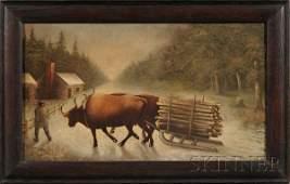 487 American School 19th Century Winter Scene with Ox
