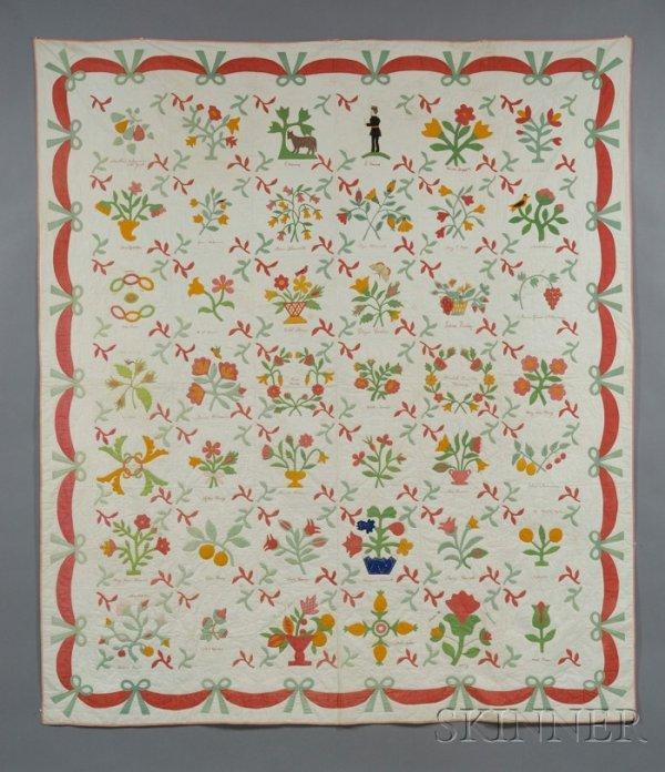 610: Pieced and Appliqued Cotton Album Friendship Quilt