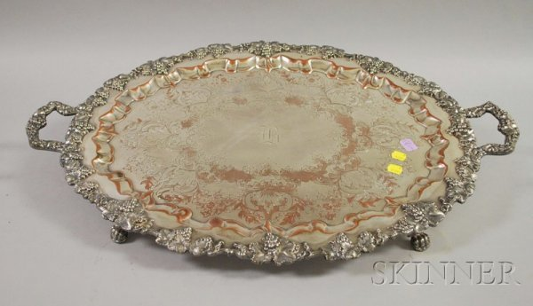 3: Sheffield Silver Plated Two-Handled Tray, with claw