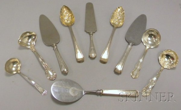 5: Eight Silver Ladles and Serving Pieces, a pair of Ri