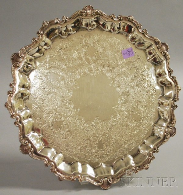 6: Round Silver Plated Footed Tray, shell edge decorati