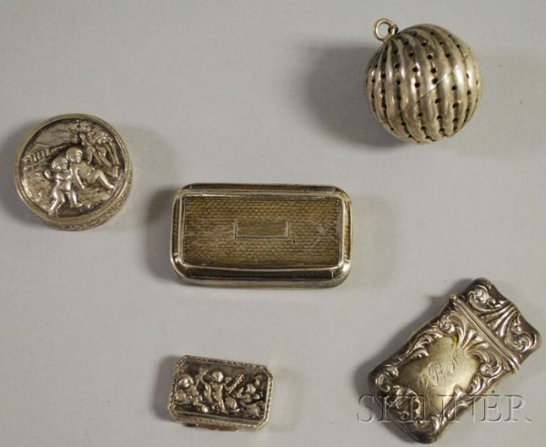 7: Five Small Silver Boxes and Tea Items, a silver tea