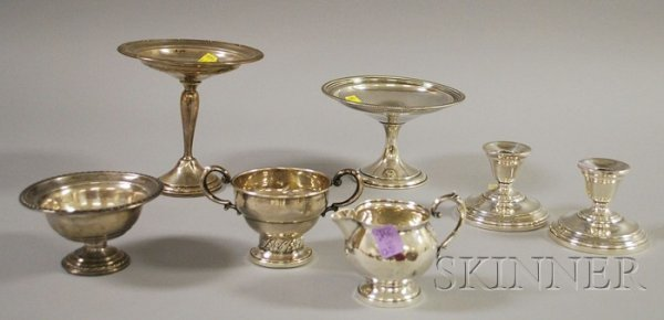 12: Seven Weighted Sterling Items, pair of Internationa