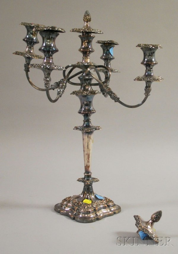 13: Silver Plated Five-Light Weighted Candelabra, with