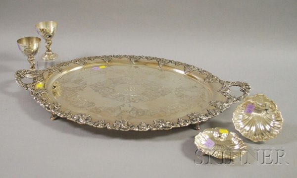 15: Five Silver Plated Serving and Trophy Items, tray w