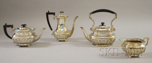 62: Four-Piece Sterling Silver Tea and Coffee Set, Will