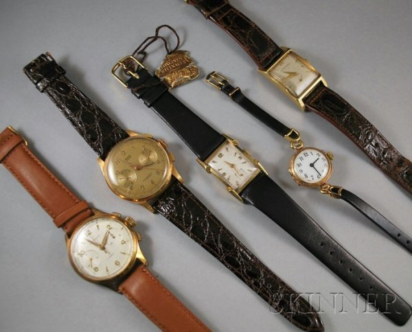 187: Five Gold Wristwatches, including an 18kt gold Dre
