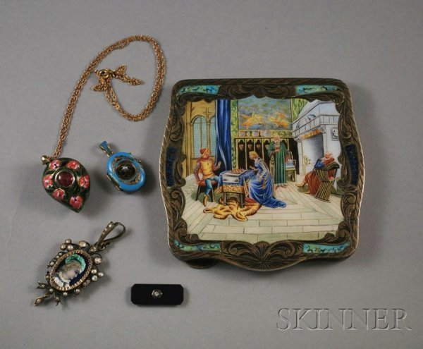 280: Small Group of Enamel Jewelry Items, an enameled l