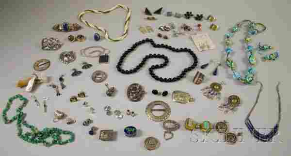 Group of Silver, Sterling Silver, and Hardstone Je