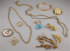 363 Assorted Group of Jewelry including an 18kt gold