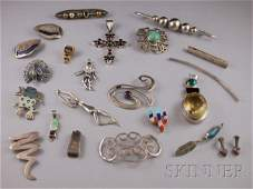 433: Small Group of Sterling Silver Jewelry, including