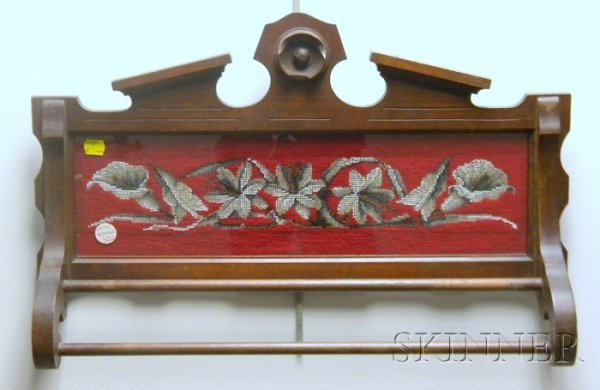 502: Victorian Walnut Wall Towel Rack with Beaded Needl