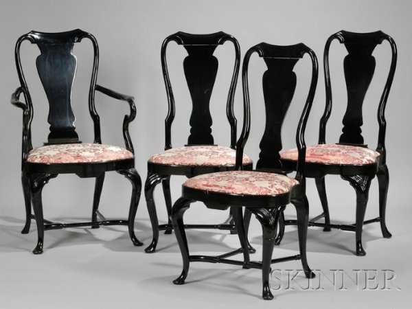505: Set of Eight Queen Anne Style Black Lacquered Dini