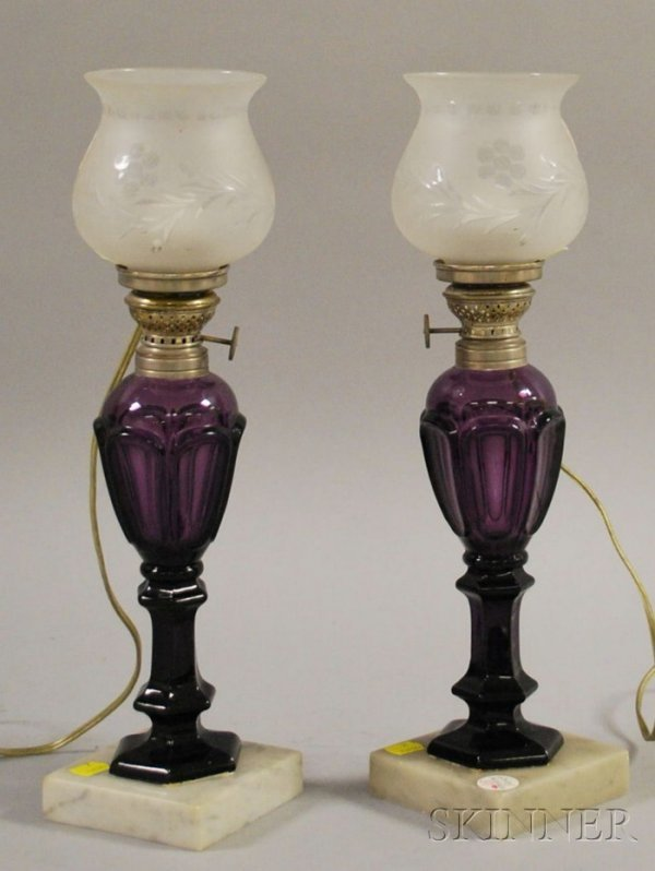 511: Pair of Amethyst Glass Fluid Lamps with Marble Bas