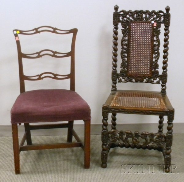 513: Jacobean-style Caned Carved Beechwood Side Chair a