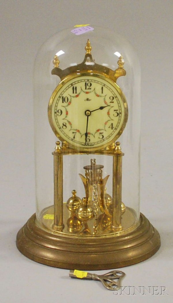 516: Brass 400-Day Clock, Germany, with glass dome and