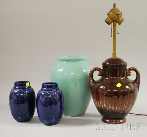 517A: Glazed Art Pottery Table Lamp and Three Vases, in