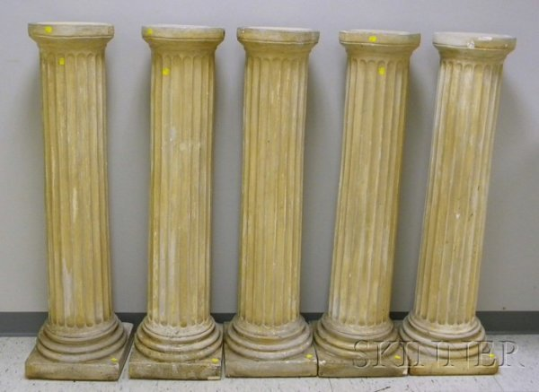 520: Set of Five Plaster Fluted Columnar Pedestals, ht.