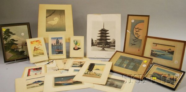 749: Approximately Eighteen Small Japanese Woodblock Pr