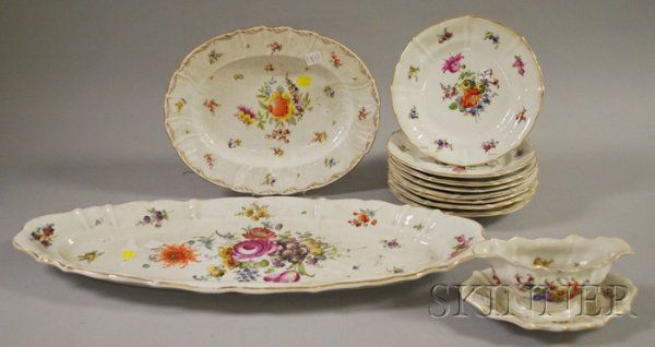 757: Eleven-piece Dresden-type Gilt and Hand-painted Fl