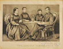 889 Framed Currier  Ives Lithograph The Lincoln Famil