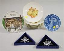 1044 Six German Porcelain Fruit Collectors Plates a