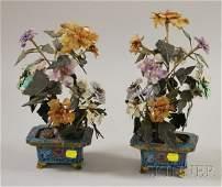 1175: Pair of Chinese Carved Hardstone Flowering Trees