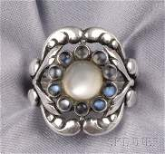 3 Sterling Silver and Moonstone Ring Georg Jensen ce