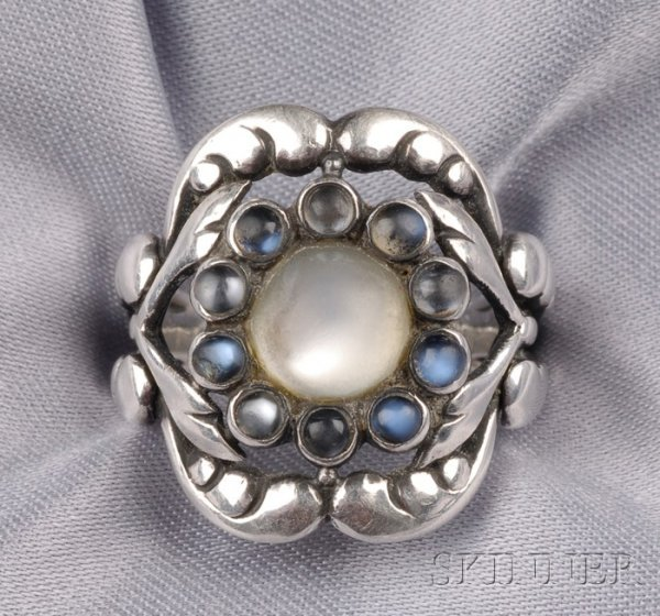 3: Sterling Silver and Moonstone Ring, Georg Jensen, ce