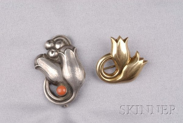 5: Two Brooches, Georg Jensen, an 18kt gold tulip brooc