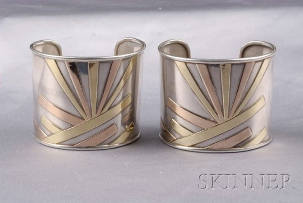 23: Pair of Sterling Silver and 18kt Gold Cuff Bracelet