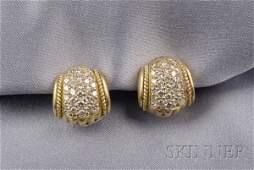 362 18kt Gold and Diamond Earclips Judith Ripka pave