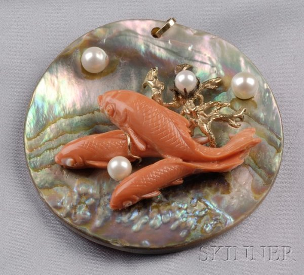 393: Carved Coral, Pearl, and Abalone Pendant, Seaman S