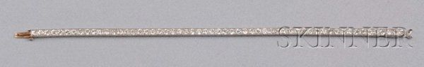 579: Art Deco Platinum and Diamond Line Bracelet, Tiffa