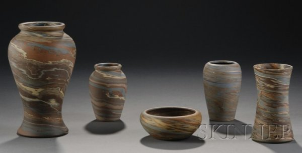 1: Four Niloak Pottery Vases and a Bowl Multicolored cl