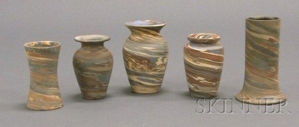 2: Five Niloak Pottery Vases Multicolored clay Benton,
