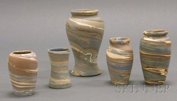 3: Five Niloak Pottery Vases Multicolored clay Benton,