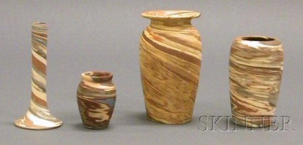 4: Four Niloak Pottery Vases Multicolored clay Benton,