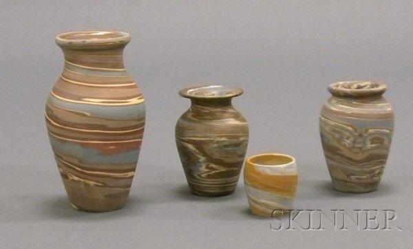 6: Four Niloak Pottery Vases Multicolored clay Benton,