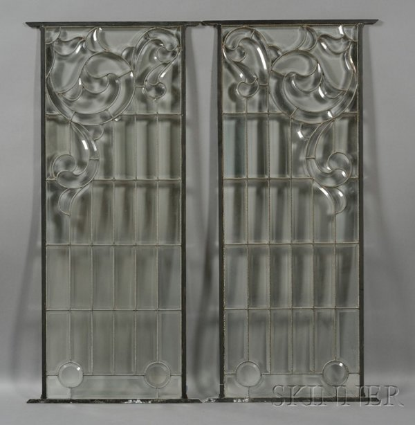 11: Pair of Decorative Glass Windows Leaded and beveled