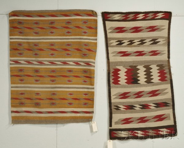 12: Two Navajo Banded Rugs Wool Second quarter 20th cen