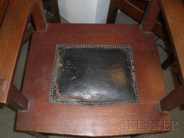 15: Seven Gustav Stickley Arts & Crafts Chairs Oak New