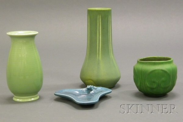 18: Three Arts & Crafts Pottery Vases and a Tray Glazed